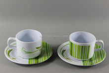 Reusable Plastic Tea Cup And Coaster Set Melamine