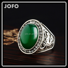 2017 New Arrival Pure Natural Green Agate Zinc Alloy Dubai Statement Ring For Men