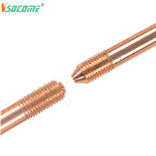 "High Quality Hot Selling 3/8,1/2"",5/8"",3/4"",1"" Threaded Copper Bonded Earth Rod for Earth System"