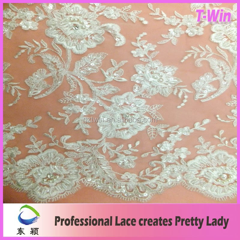 Latest Italian white beaded wedding lace fabrics For Bridal