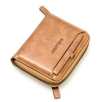 Wholesale men brand wallet vintage PU leather zipper purse with coin pocket Baellerry