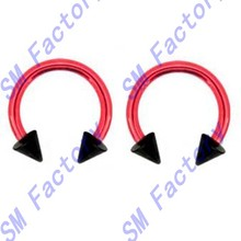pair of red titanium with black spike beads horseshoe lip tragus belly eyebrow ear nipple ring 16 gauge --SMY44122