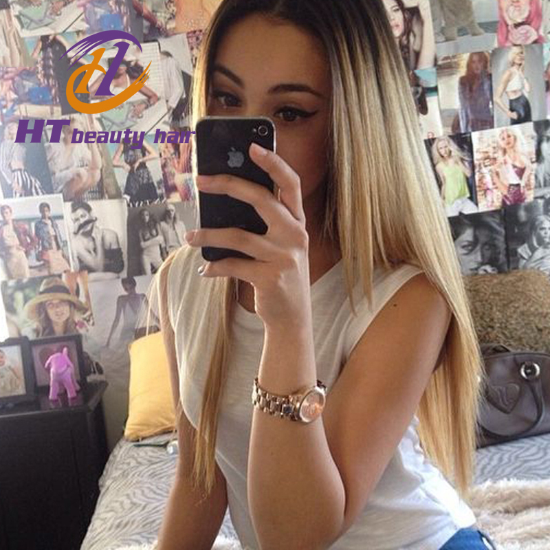 Free Shipping Two Tone#1b/Blonde Full Lace Human Hair Wigs Ombre Lace Front Wigs Brazilian Silky Straight Glueless Full Lace Wig