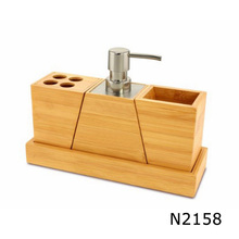 4 piece bamboo bathroom accessory set