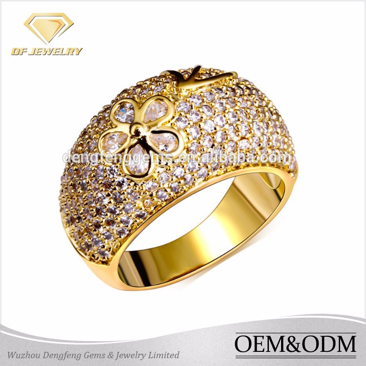 Fashion Micro Pave Cubic Zirconia 925 Silver Ring Small Flower Blossoms Dome Style 18K Gold Wedding Ring