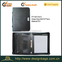 Set of leather portfolio with zipper ring binder for pormotion gifts