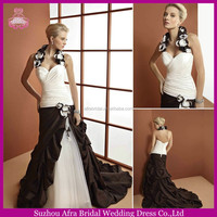 SD1207 sexy halter neck mermaid wedding dress grey and white wedding dresses