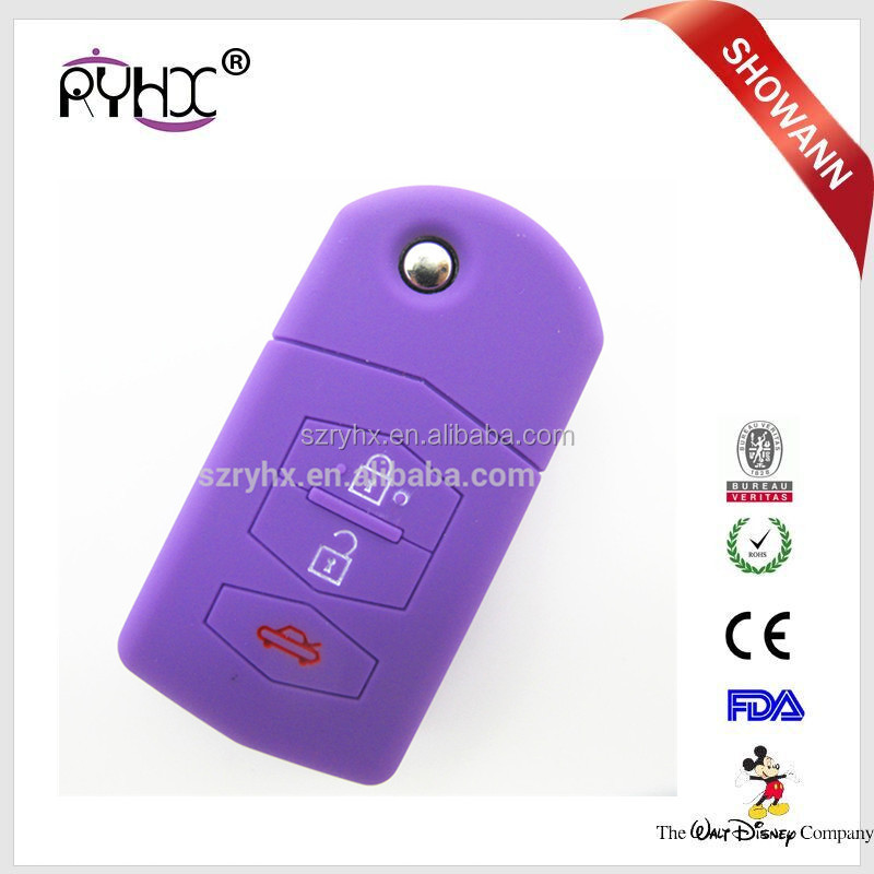 2016 High quality silicone remote car key case silicone smart key cover for Mazda