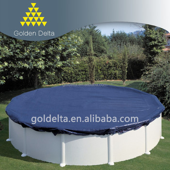 Above ground pool cover dust cover leaf cover with winch cable