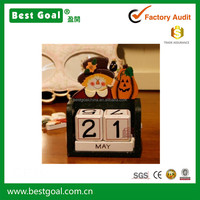 Bestgoal hot sale cute desktop calendar stand Wooden Blocks Daily