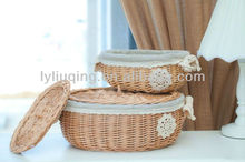 wholesale cheap set 2 willow wicker storage basket with lid and liner