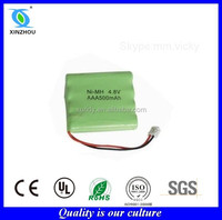 Nimh AAA 500mah 4.8v rechargeable cordless phone battery