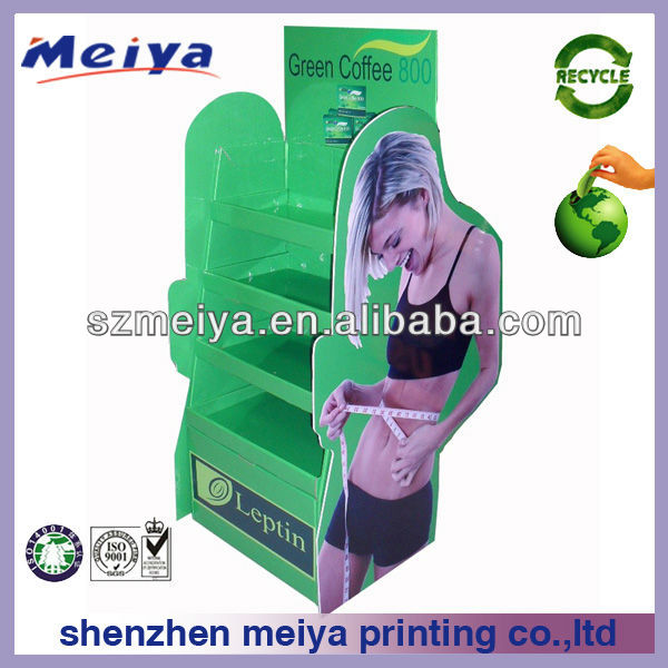 Creative recyclable cardboard display stand,floor display stand,cardboard display rack of green coffe/diet tea for fatty