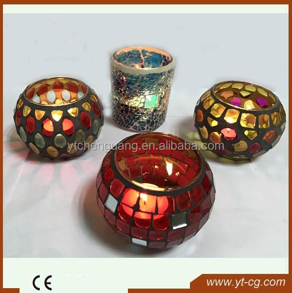 2017 new round shape Mosaic glass candle holder with colorful glass