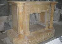 Natural Stone Yellow Marble Fireplace