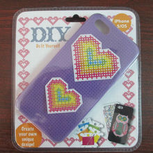 Silicone cross stitch DIY Phone Case Cover for Iphone 4 & 4S with various colors