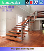 Prefabricated home wood stair with modern railing designs
