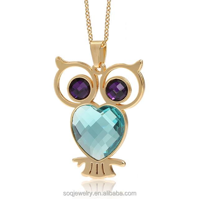 New Fashion Owl Crystal Silvertone Pendant Necklace Matching Stud Earring Women Set
