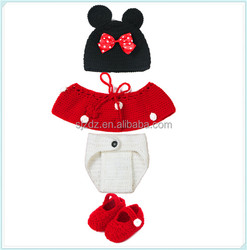1 Set Baby Vivid Lovely Minnie Hat+Skirt+Shoes Crochet Knit Photo Prop Costume