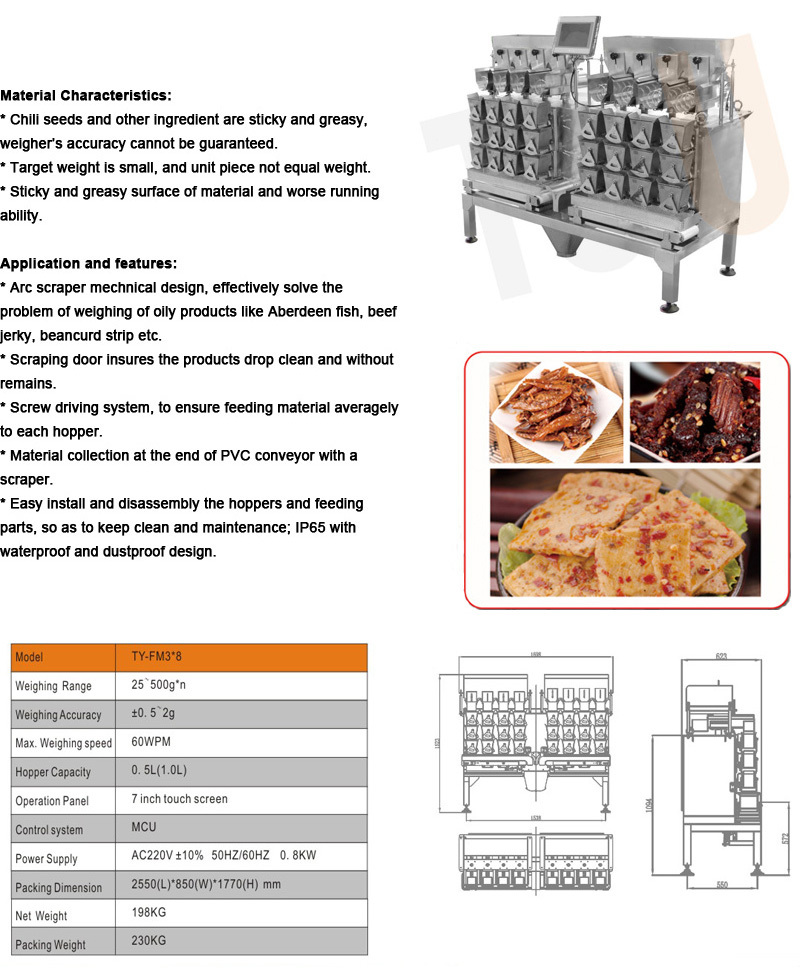 multihead combination weigher for fresh and sticky food product