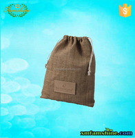 Top quality natural mini cotton linen drawstring bag