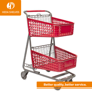 Euro Style 60L-240L Supermarket Storage Steel Supermarket Rolling Shopping Trolley Cart