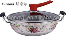 Enamel strait wok with full decals