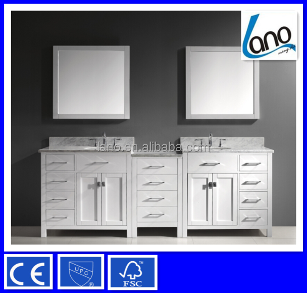 92 inch Solid Oak White Double Sink Bathroom Vanity With Carrara White Marble Countertop LN-S8550