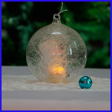 Beautiful Clear Amazing Spun Glass Ball Sets with Led Light