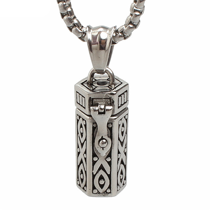 Stainless Steel Tubular Urn Pendant Necklace for Memories Humans Cremation Ashes
