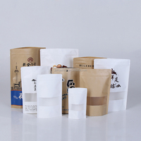 Customized white kraft paper stand up pouch with window and zipper doypack packaging bag for chips