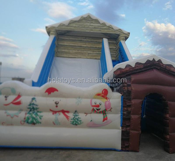 2017 Hola snowman inflatable slide/big Christmas inflatable slide for amusement park