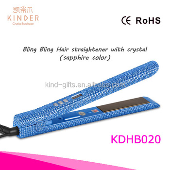 Fast delivery wholesale price bling bling crystal beaded flat iron Titanium plate hair straightener