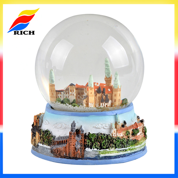 High quality 65mm custom snowflake snow globe with glass ball