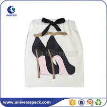 New design white cotton high heeled shoe gift bag with drawstring