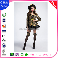 Casual female pirate two piece cosplay costume with hat