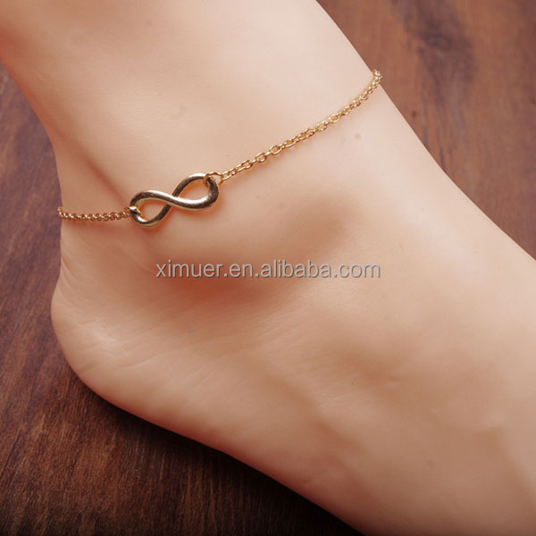 Wholesale girls infinity body chain foot bracelet