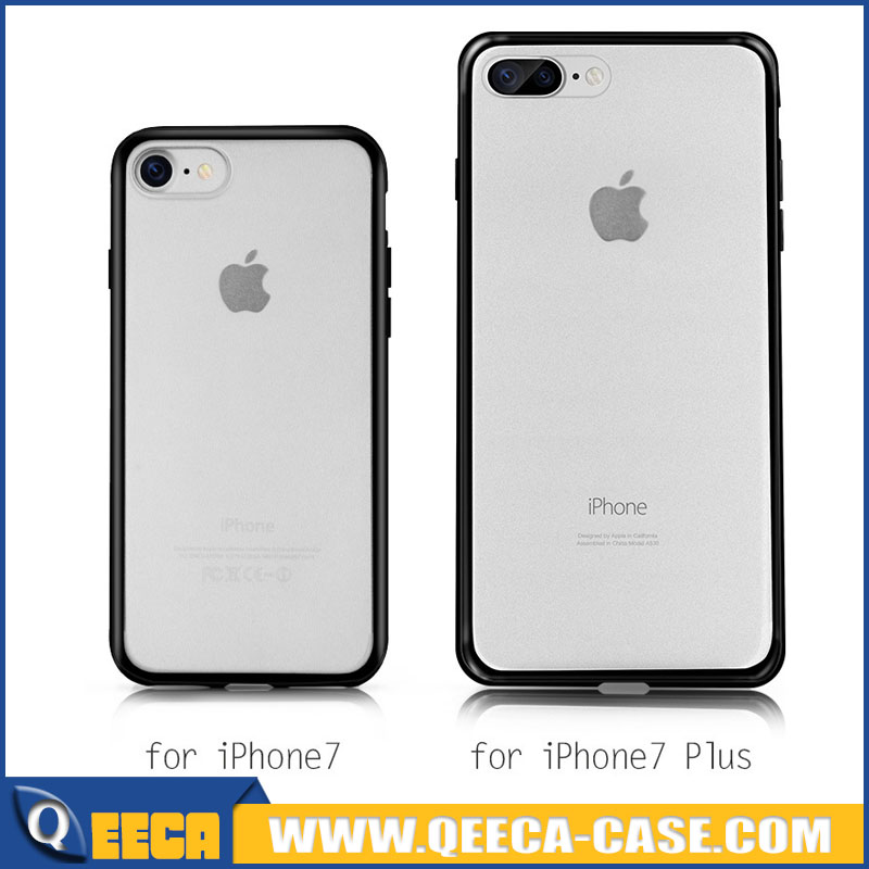 For iPhone 7/7 plus hard plastic cases with rubber bumper,2 in 1 frosted acrylic back case with Soft TPU Side Bumper for iphone7