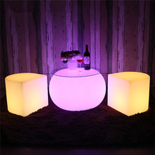 Glowing Plastic Round Led Bar Table For Restaurant Bar Coffee Shop Outdoor Table