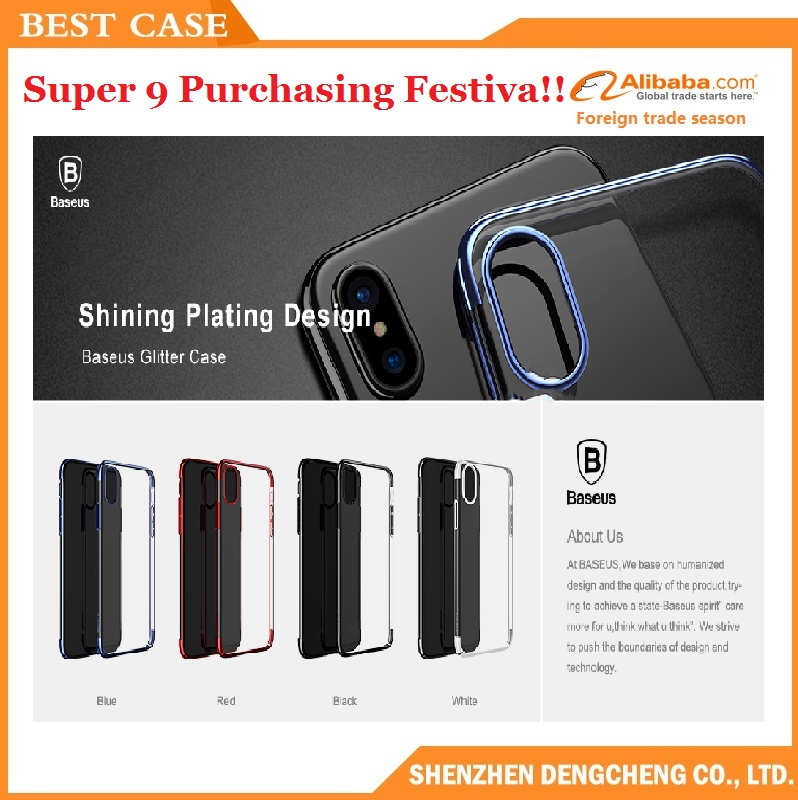 baseus shining plated arc case glitter series easily install cover for iPhone X