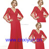 Dignified V-Neck Unique Design Long Evening Dress Red Color --- EV0039