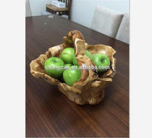 Factory Direct Classical Chinese Style Wooden Root Fruit Basket