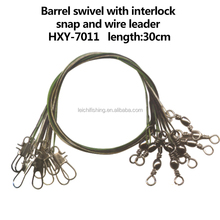 Barrel swivel with interlock snap fishing wire leader