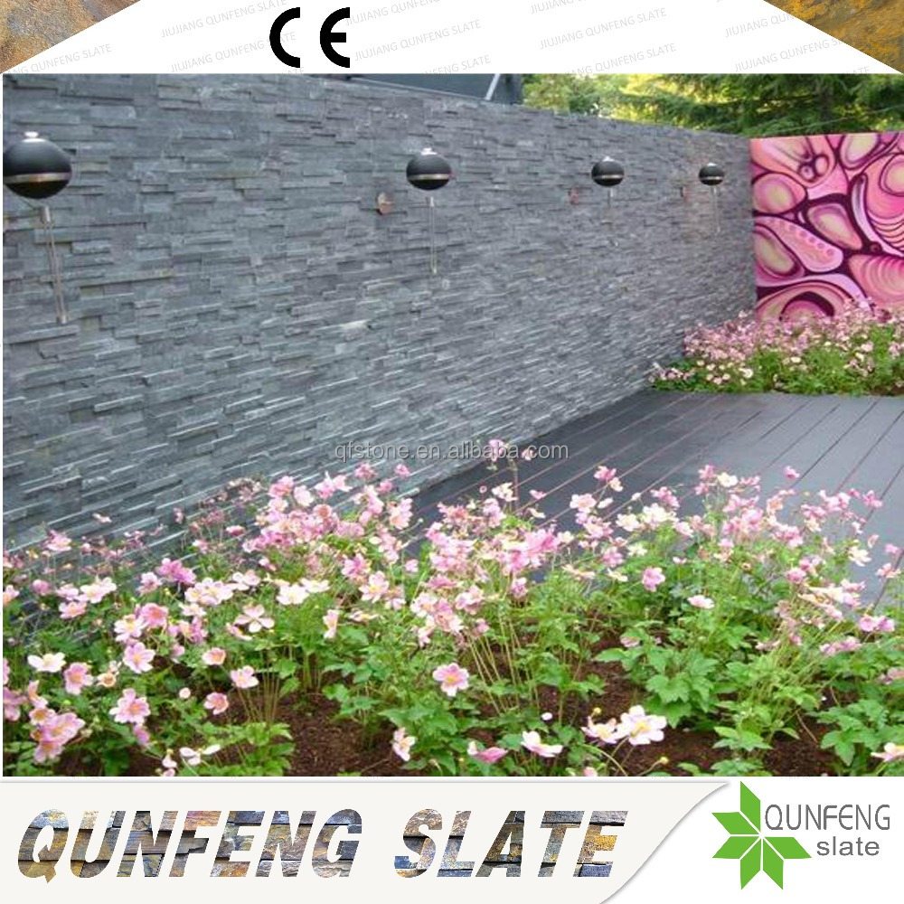Popular And Cheap Natural Black Culture Stone Exterior Wall Slate Tile