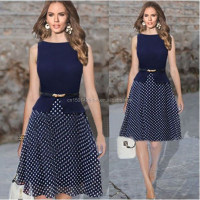 Summer New Fashion Women Slim Chiffon Sleeveless Party Office OL Polka Dot Dress