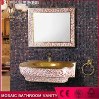 LANBOR mosaic vanity wall mounted modern bathroom cabinet vanity set with mirror vanity cabinet JM223-RGS