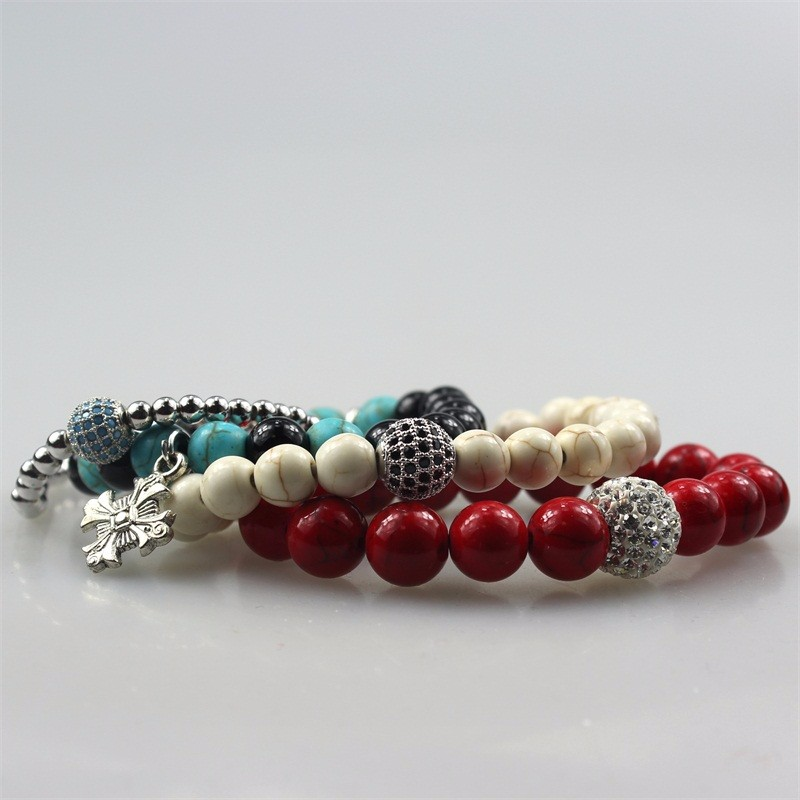 2017 New Design Natural Stone Mix Color Copper Ball Handmade Bead Bracelet