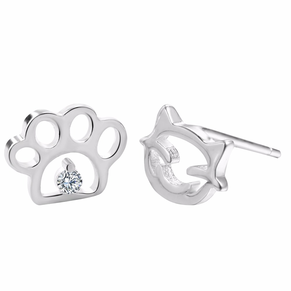 Lovely Paw&Cat Animal Earrings Charm 925 Sterling Silver Stud Earrings Cute Animal Jewelry Pendientes Brincos Earring