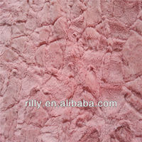 100% polyester brushed and embossed PV plush fabric