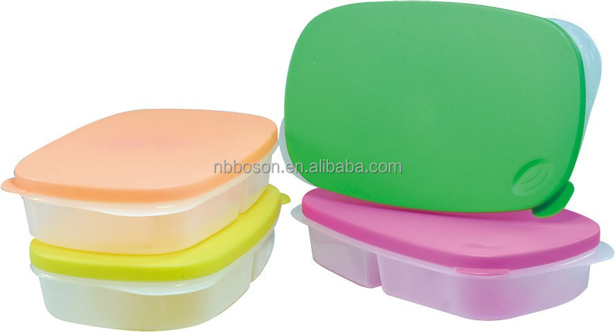 sectioned food containers in plastic